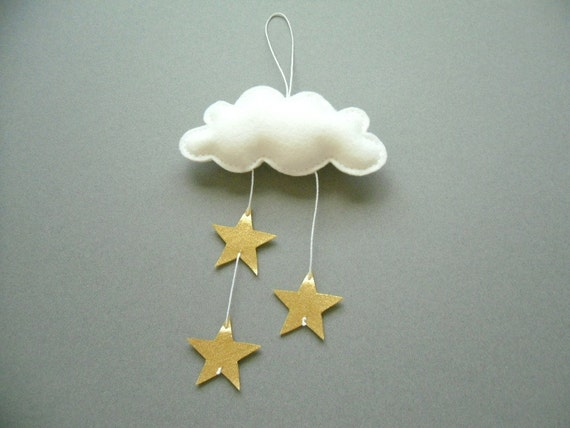 Gold Star Wall Decor: Mini Cloud And GOLD STARS Wall Hanging Cloud By
