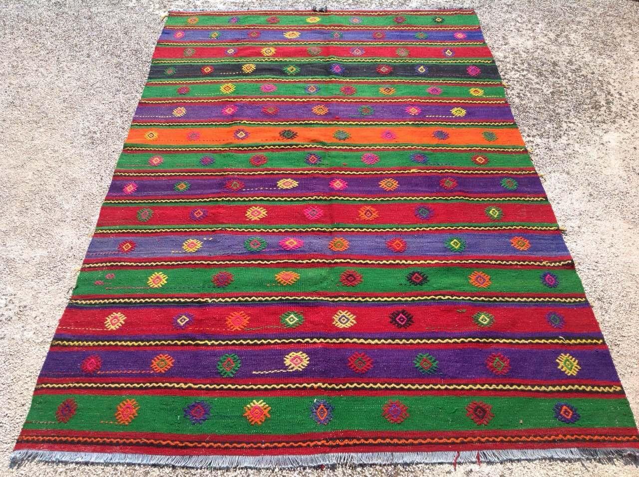 colorful striped area rug 111 5 x 73 purple green