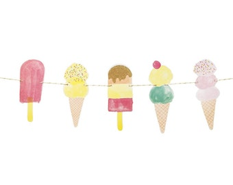Ice cream cone garland.  10'.  Ice cream and popsicle party banner.  Ice cream bunting.  Ice cream parlor party decor. Ice cream decoration