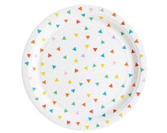 Rainbow triangles paper plates. Set of 8. Green, pink, yellow, blue, and red paper plate. Birthday party plates.  Bright triangle plate.