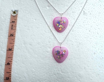 Two Friendship Heart pendants and chains. Best Friends Forever