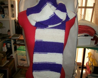 violet and white scarf
