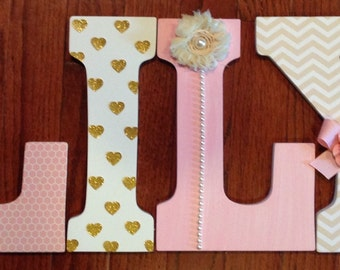 Nursery letters, Custom wall letters, Pink and gold nursery decor, Girl's room letters