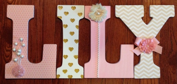 nursery letters custom wall letters pink and gold nursery decor girls room letters