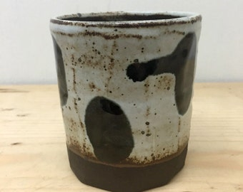 black dot cup // handmade // ceramic tumbler // polkadot