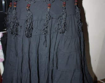 Black Bellydance Tribal Skirt with Extras