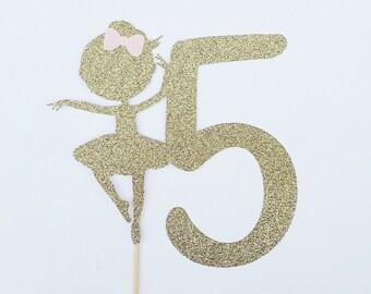 Gold ballerina cake topper