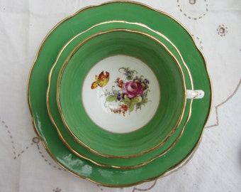 Pretty vintage 1930s E B Foley China trio English, fine bone china wide low Avon tea cup saucer & plate. green with floral sprays. Tea party