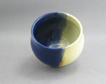 Pottery Small Bowl Yellow Salt & Aegean Blue FF17