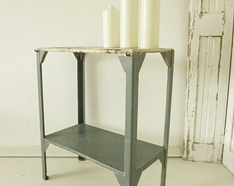 Antique, industrial metal table, France, 1910...CHARMANT!
