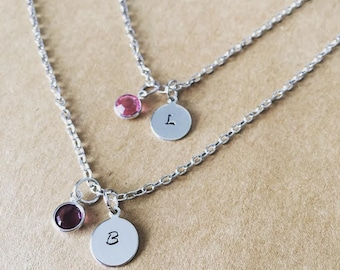 TWO Mommy & me matching birth stone necklaces / Personalized matching Best Friend jewelry / Mother Daughter / initial necklaces