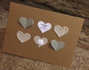 Heart button personalised wedding, birthday, valentines, or just to say any occasion card