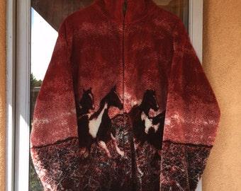 Wild horses zip up fleece, medium