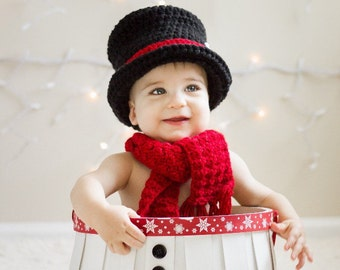 Snowman Top Hat, snowman scarf, baby infant child snowman top hat, crochet snowman top hat, snowman hat and scarf, infant snowman