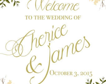 Welcome Sign. Digital Wedding welcome sign. Peony. Floral Wedding welcome sign