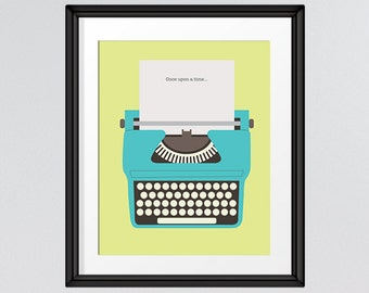 Once upon a time Retro Typewriter, Lime Green, Art Printable, Wall Decor, Retro Art, Gifts for her, 8x10, INSTANT DOWNLOAD