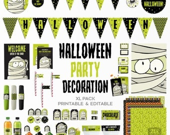 Halloween Party Printable Kit, Halloween Party Decoration, Printable Party Pack, Editable, Instant download, Halloween, ZWDHN00116