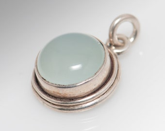 Sterling Silver and Opaque Stone Pendant