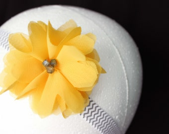 Shabby Yellow Headband, Baby Headband, Spring Headband, Yellow Spring Headband, Yellow Gray Headband, Yellow Flower Headband