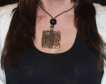 Large square abstract copper pendant