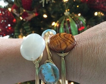 SET of THREE Gold Bangles Brown Blue Pearl Stones
