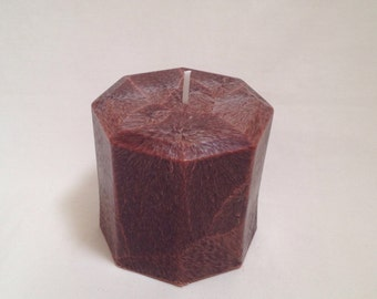 Brown Octagonal Palm Wax Pillar Candle 3x3