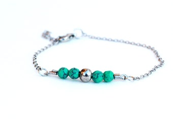Silver & Turquoise Beaded Bracelet