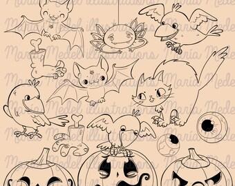 DESCARGA instantánea - sellos de arte digital de línea de Halloween Juego