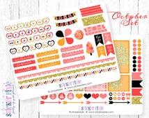 October Sticker Set Happy Planner Erin Condren Life Planner Stickers, Scrapbook Stickers  orange pink gold sparkle
