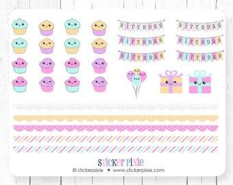 Kawaii Cupcake Birthday Sticker Set Planner Stickers Kawaii Present Kawaii Balloons