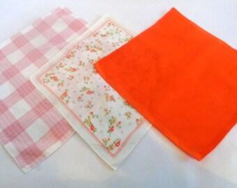 Lot of 3 Vintage Cotton Printed Handkerchief,  Print Hankie