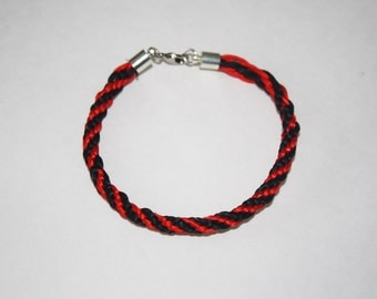 Red and Black Kumihimo Bracelet, Friendship Bracelet, Braided Bracelet, Kumihimo, Friendship Bracelet, Woven Bracelet, Red, Black