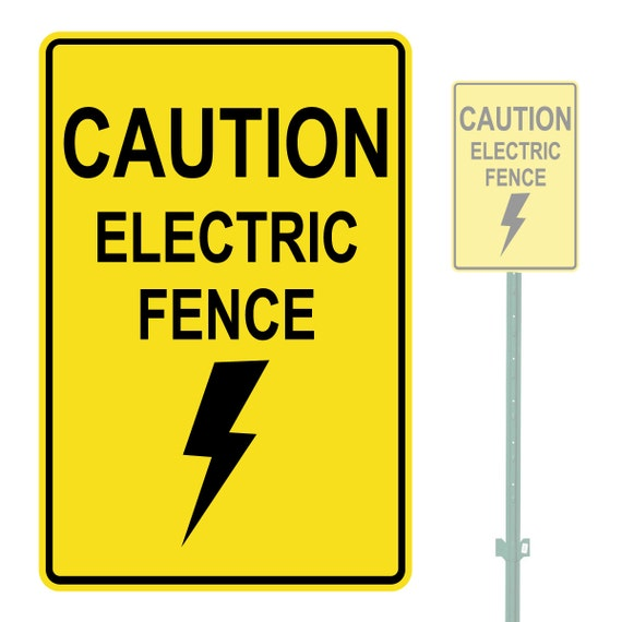 Caution Electric Fence Heavy Duty Aluminum Warning Parking
