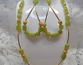 Fashion Necklace, Green stone Necklace, Gold green tube necklace Fashion Jewelry