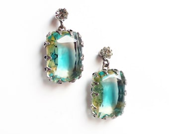 2 tone jonquille and aquamarine Swarovski crystal pierced earrings by DeLuxe Accessories