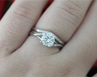 1ct Round Cut Moissanite Engagement Ring & Wedding Band 14K White Gold Moissanite Wedding Ring Set/Moissanite Ring Set/Anniversary Ring