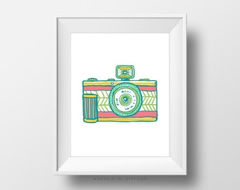 SALE -  Vintage Camera, Doodle, Handdrawn Illustration, Colorful Print, Vintage Poster, Modernism, Nursery, Teen, Dorm, Home Decor