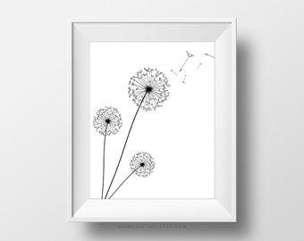 SALE -  Dandelion, Nature Silhouette, Flower Silhouette, Dandelion Print, Black White, Nursery, Dorm Apartment Office Home, Modernism