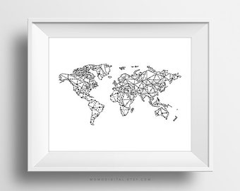 SALE -  Geometric Map, World Map Print, World Map Poster, Black White, Modernism, Contemporary, Simplicity, Minimalism, Shape, Lines