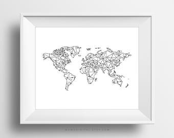Drawing A World Map. SALE  Geometric Map World Print Poster Black White
