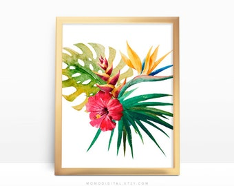 SALE -  Tropical Plant, Tropical Print, Hawaii, Plant Poster, Watercolor Print, Watercolor Nature, Red Flower, Green Leaves, Chic