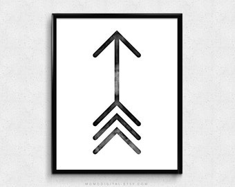 SALE -  Watercolor Arrow, Black Arrow, Black White Print, Modern Art Decor, Simplicity, Minimalist Style, Nursery, Dorm, Office