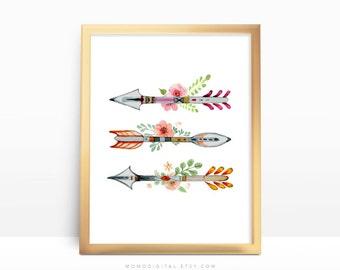 SALE -  Floral Arrows, Watercolor Arrows, Watercolor Flowers, Colorful Arrows, Native Tribal Print, Baby Girl Nursery, Coral Teal