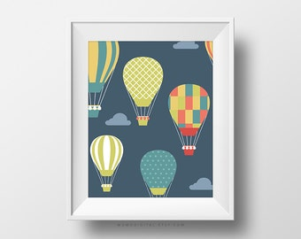 SALE -  Colorful Hot Air Balloons, Pattern, Baby Nursery, Baby Boy Nursery, Pattern Poster, Sky Cloud, Nature Poster, Adventure
