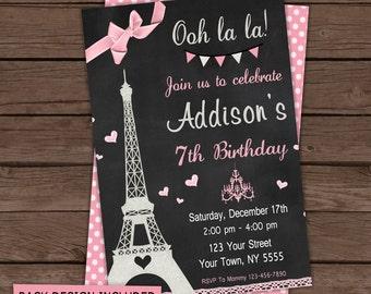 Paris Birthday Invitation / Digital File