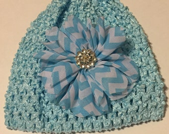 Stretch Beanie in Ice Blue 0-12 Months