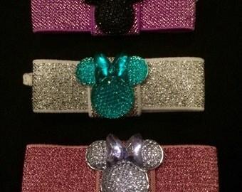 Minnie Mouse hair tie set-Minnie Mouse hairband-Girl hair ties-Sparkly hair ties