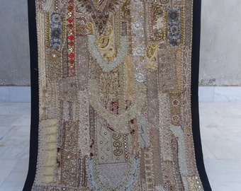 Antique Mirror Work Tapestry - Banjara Patchwork Collectible Indian Wall Hanging Decor