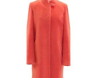 Salmon color one button coat