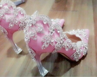 Custom Wedding Shoes -Handmade Crystal Embellished Shoe, Bridal Shoe, Prom shoe.